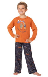 Model wearing Navy Blue Gator PJ with Graphic Tee for Youth image number 0
