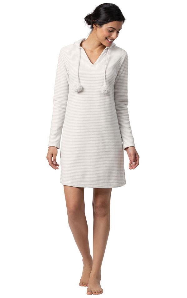Gray Stripe Sleepshirt with Hood for Women image number 0