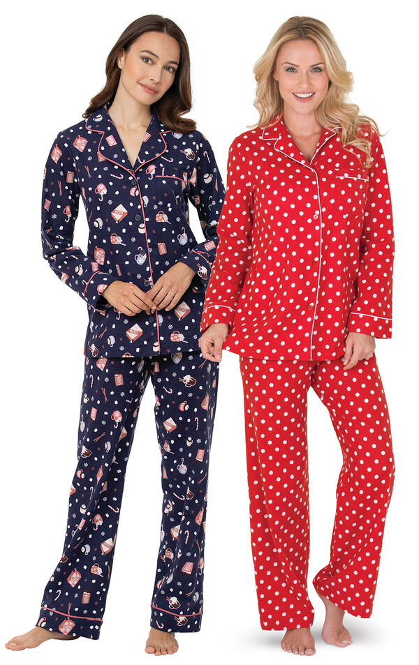 Mugs and Kisses and Red Polka-Dot Flannel Boyfriend PJs image number 0
