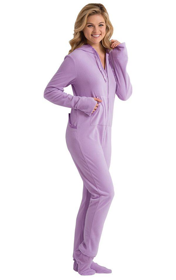Model wearing Lavender Sneak-a-Peek Hoodie-Footie with her hands in the kangaroo pockets image number 1
