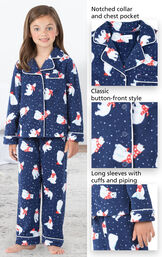 Close-ups of Polar Bear Fleece PJ features which include a notched collar and chest pocket, classic button-front style and long sleeves with cuffs and piping image number 3