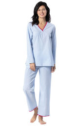 Model wearing Blue and White Stripe PJ with Pink Trim for Women image number 0