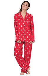 Model wearing Red Santa Print Button-Front PJ for Women image number 0