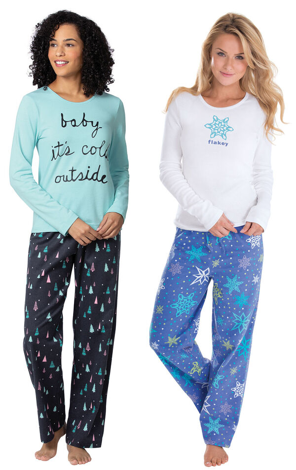 Addison Meadow PajamaGram Bright Trees and Flakey Flannel PJs image number 0