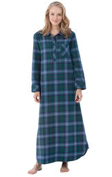 Model wearing Green and Blue Plaid Gown for Women image number 0