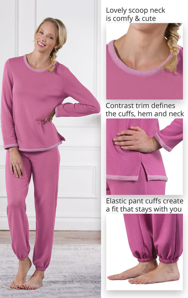 Close-Ups of World's Softest Jogger PJs features which include a lovely scoop neck, contrast trim that defines the cuffs, hem and neck and Elastic pants cuffs that create a fit that stays with you image number 3
