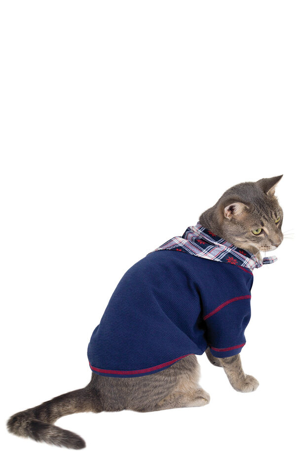 Model wearing Dark Blue Snowflake Plaid PJ for Cats image number 0