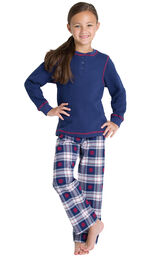Model wearing Dark Blue Snowflake Plaid Thermal Top PJ for Girls