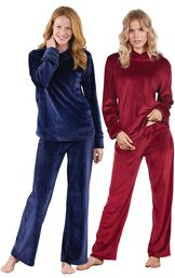 Models wearing Tempting Touch PJs - Midnight Blue and Tempting Touch PJs - Garnet.