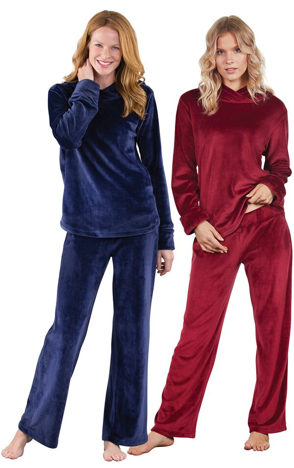 Models wearing Tempting Touch PJs - Midnight Blue and Tempting Touch PJs - Garnet. image number 0