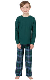 Model wearing Green and Blue Plaid Thermal-Top PJ for Kids