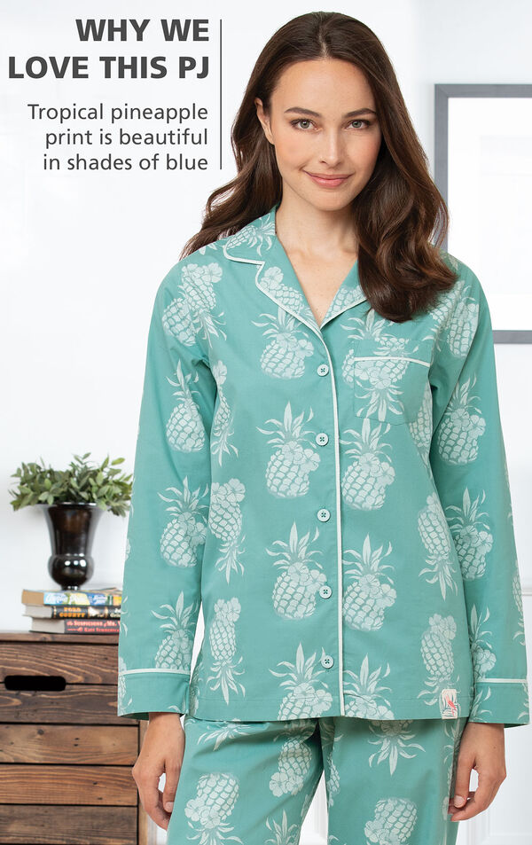 Why We Love this PJ: Tropical pineapple print is beautiful in shades of blue image number 2