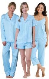 Models wearing Classic Polka-Dot Capri Pajamas - Blue, Classic Polka-Dot Short Set - Blue and Classic Polka-Dot Boyfriend Pajamas - Blue. image number 0