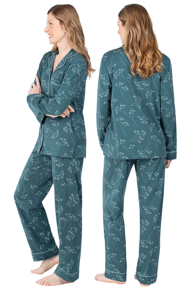 Model wearing Dark Green Floral Print Button-Front PJ for Women, facing away from the camera and then to the side image number 1