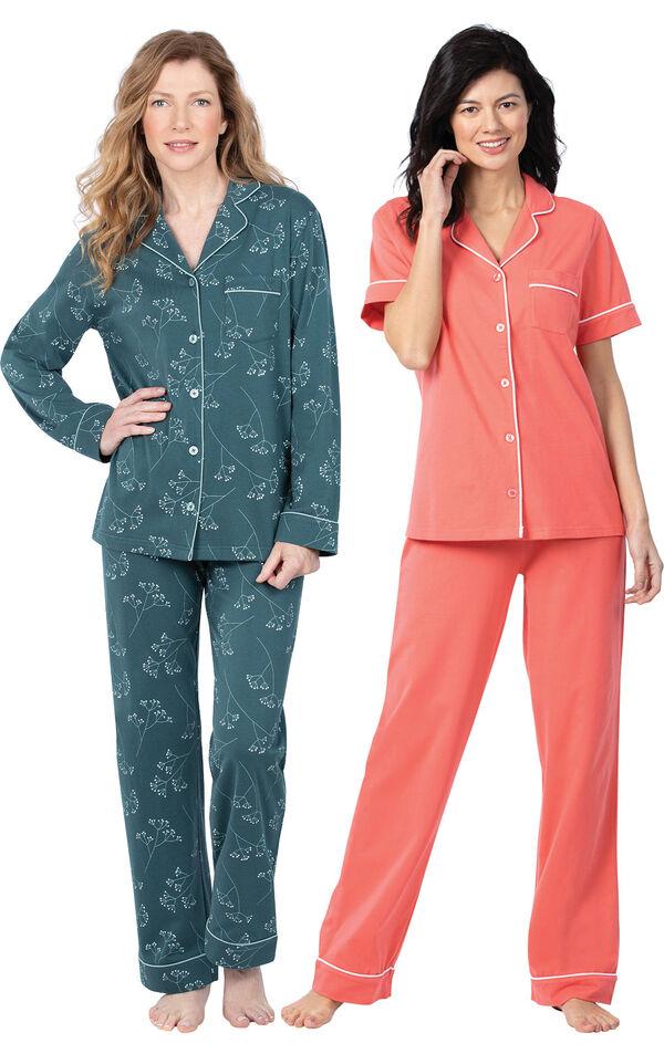 Models wearing Solid Jersey Short-Sleeve Boyfriend Pajamas - Coral and Jersey Boyfriend Pajamas - Green Floral Print image number 0