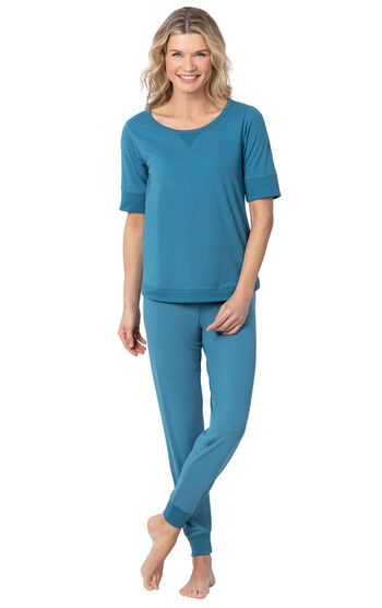 Addison Meadow PajamaGram Whisper Knit Jogger PJs - Teal