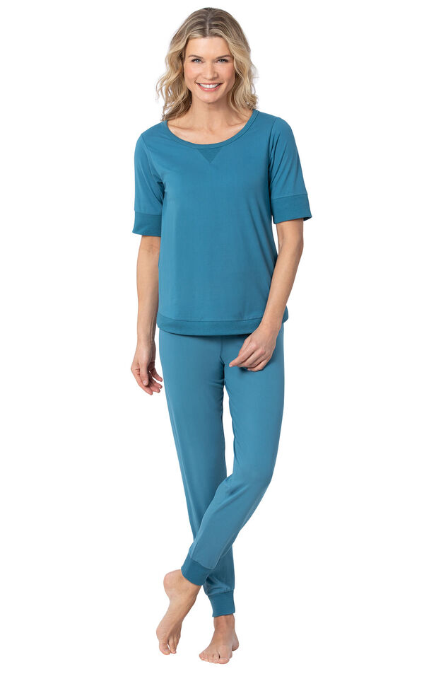 Addison Meadow|PajamaGram Whisper Knit Joggers in Teal image number 0