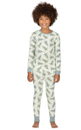 Model wearing Green Pine Tree PJ for Girls