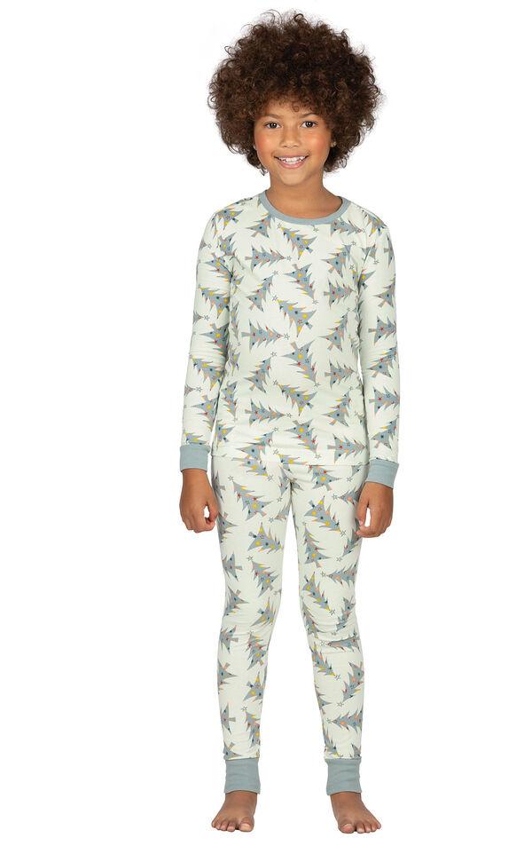 Model wearing Green Pine Tree PJ for Girls image number 0