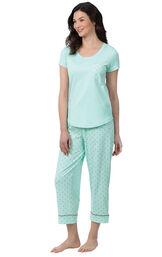 Model wearing Mint and Gray Polka Dot Short Sleeve Capri PJ for Women image number 0