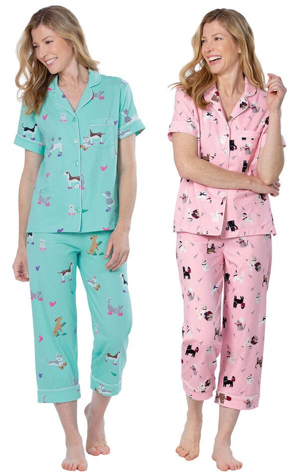 Models wearing Doggy Dreams Short-Sleeve Boyfriend Capri Pajamas - Aqua and Kitty in Paris Short-Sleeve Boyfriend Capri Pajamas - Pink image number 0