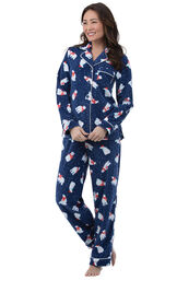 Model wearing Navy Polar Bear Fleece Button-Front PJ for Women image number 0