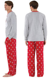 Model wearing Red and Gray Santa Print PJ for Men, facing away from the camera and then to the side image number 1