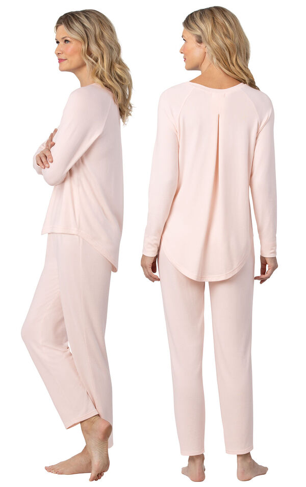 Model wearing Light Pink Scoop Neck Pajama Set for Women, facing away from the camera and then to the side image number 1