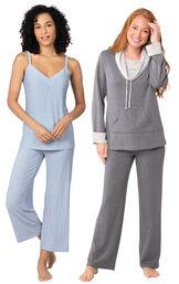 Models wearing Naturally Nude Capri Pajamas - Blue and World's Softest Pajamas - Charcoal.