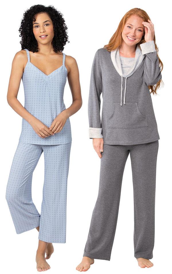 Models wearing Naturally Nude Capri Pajamas - Blue and World's Softest Pajamas - Charcoal. image number 0