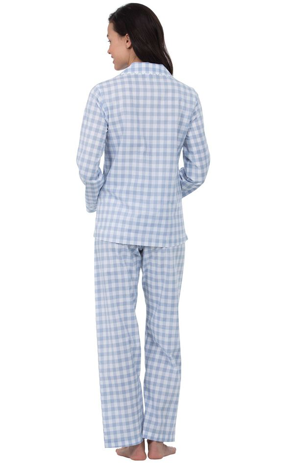 Model wearing Blue and White Gingham Button-Front PJ for Women, facing away from the camera image number 1