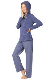 Model wearing Margaritaville Cool Nights Hoodie Pajamas - Navy with the hood up, facing to the side image number 2