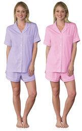 Models wearing Classic Polka-Dot Short Set - Lavender and Classic Polka-Dot Short Set - Pink. image number 0