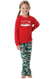 Model wearing Red and Green Night Before Christmas PJ for Girls image number 0