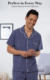 Navy Stripe Short Sleeve Button-Front Short Set for Men image number 2