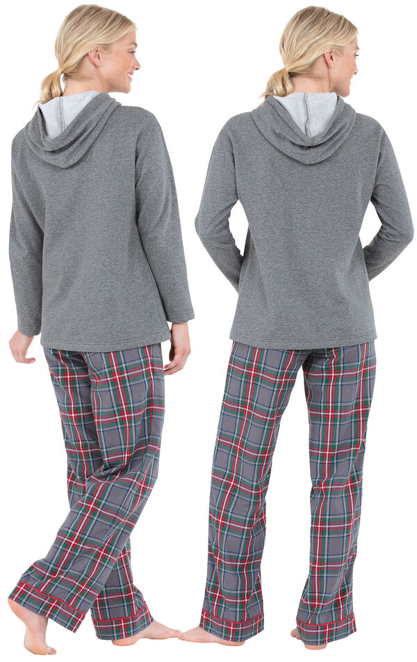 Model wearing Gray Classic Plaid Hoodie PJ for Women, facing away from the camera image number 1