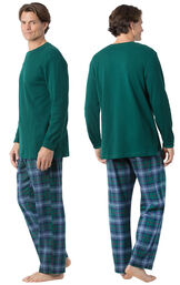 Model wearing Green and Blue Plaid Thermal-Top PJ for Men, facing away from the camera and then to the side image number 1