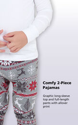 Comfy 2-Piece Pajamas - Graphic long-sleeve top and full=length pants with allover print image number 2