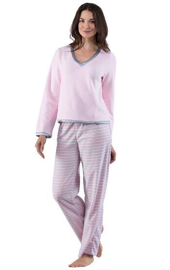 Snuggle Fleece Pajamas - Pink Stripe
