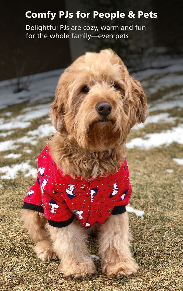 Adorable dog wearing Snoopy and Woodstock Dog Pajamas - Comfy PJs for People and Pets! image number 2