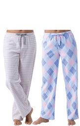 Pink Stripe Argyle Fleece Pajama Pant 2-Pack for Women image number 0
