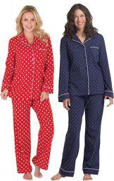 Models wearing Polka-Dot Boyfriend Flannel Pajamas - Red and Classic Polka-Dot Pajamas - Navy.