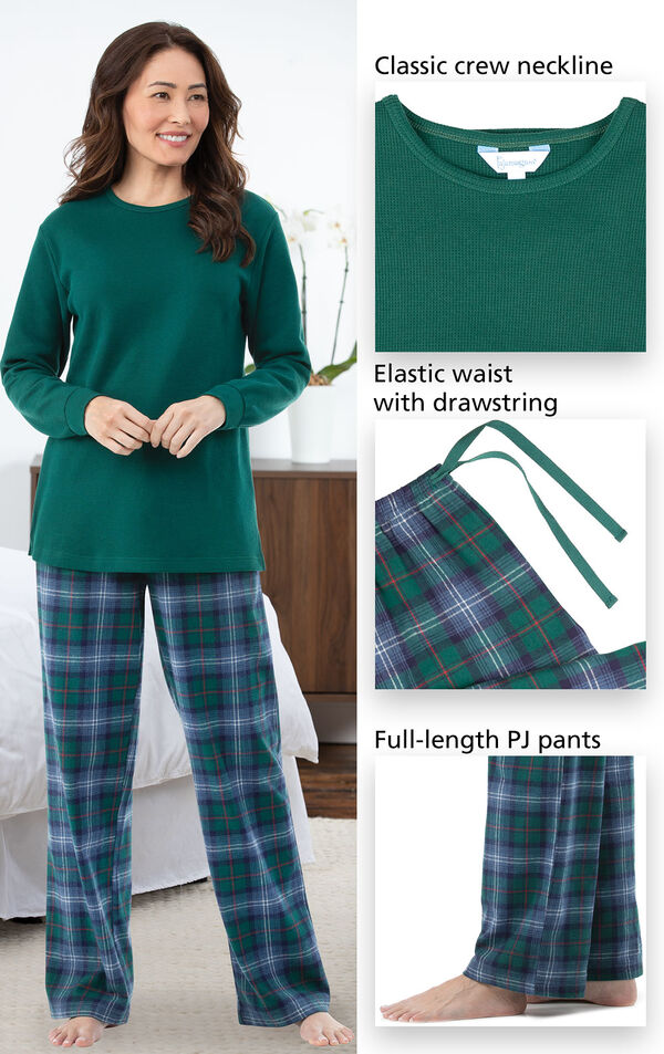 Close-ups of the features of Heritage Plaid Thermal-Top Women's Pajamas which include a classic crew neckline, elastic waist with drawstring and full-length pj pants image number 3