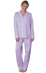 Model wearing Purple Pin Dot Button-Front PJ for Women image number 0