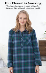 Model wearing Heritage Plaid Nighty by bed with the following copy: Our Flannel is Amazing. Timeless nightgown is made with woven, yarn dyed flannel in rich blue/green plaid image number 2