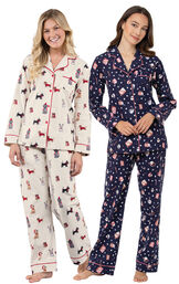 Mugs and Kisses and Christmas Dogs Boyfriend PJs image number 0
