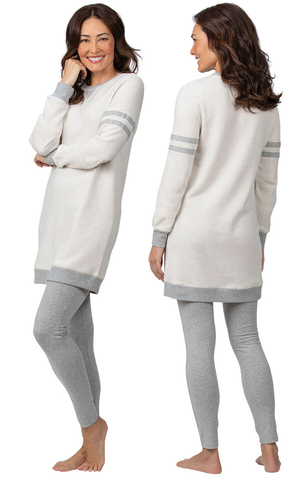 Model wearing Oatmeal Sweatshirt and Leggings Pajama Set for Women, facing away from the camera and then to the side image number 1