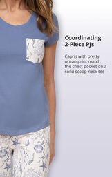 Capris with pretty ocean print match the chest pocket on a solid scoop-neck tee image number 3