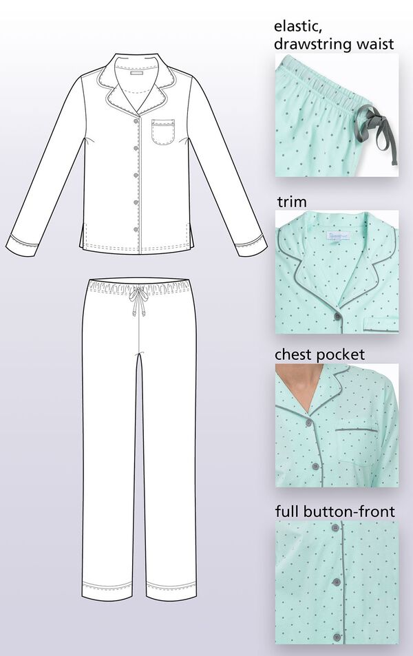 A technical drawing of Classic Polka Dot Pajamas, which features an Elastic, drawstring waist, Trim, Chest Pocket, Full-button front image number 5