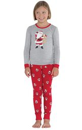 Model wearing Red and Gray Santa Print PJ for Girls